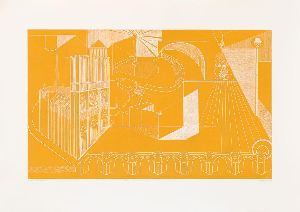 colour etched block print